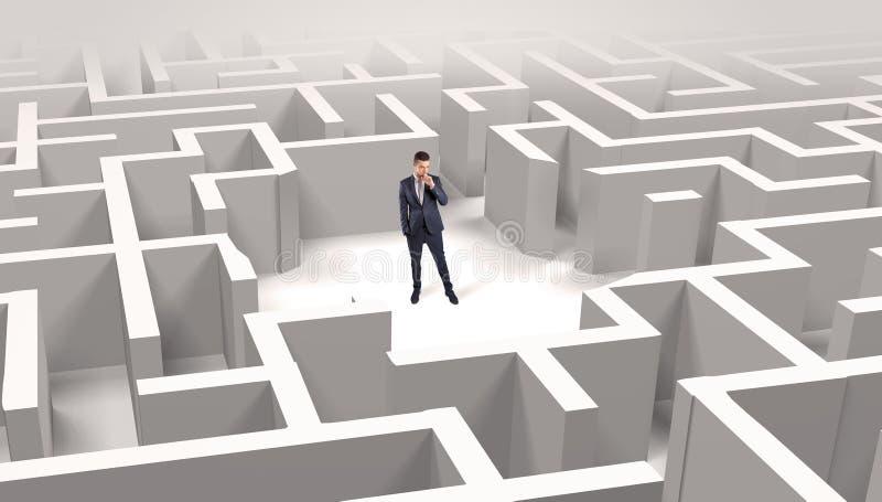 Posi??o do homem de neg?cios em um meio de um labirinto ilustração royalty free