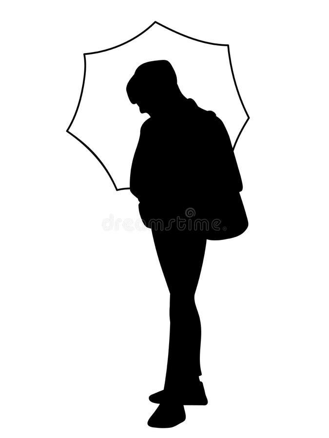 Posi??o do homem, guardando o guarda-chuva em sua m?o Silhueta preta isolada no fundo branco Conceito Ilustra??o do vetor ilustração stock