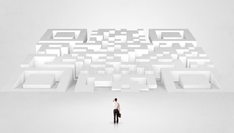 Posi??o pequena do homem na frente de um labirinto enorme imagens de stock