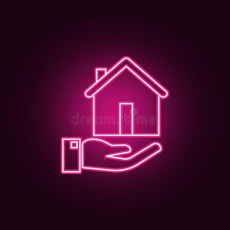 Posiadania ubezpieczenie nieruchomo?ci neonowa ikona Elementy Real Estate set Prosta ikona dla stron internetowych, sie? projekt, ilustracja wektor