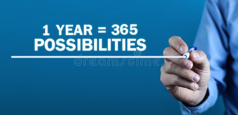posibilidades de 1 año 365 Pensamiento positivo Concepto del asunto imagen de archivo libre de regalías
