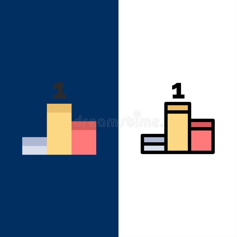 Posición, éxito, iconos del logro El plano y la línea icono llenado fijaron el fondo azul del vector libre illustration