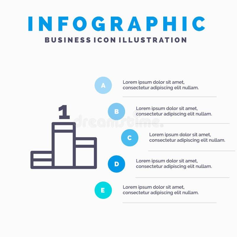 Posición, éxito, línea icono del logro con el fondo del infographics de la presentación de 5 pasos ilustración del vector
