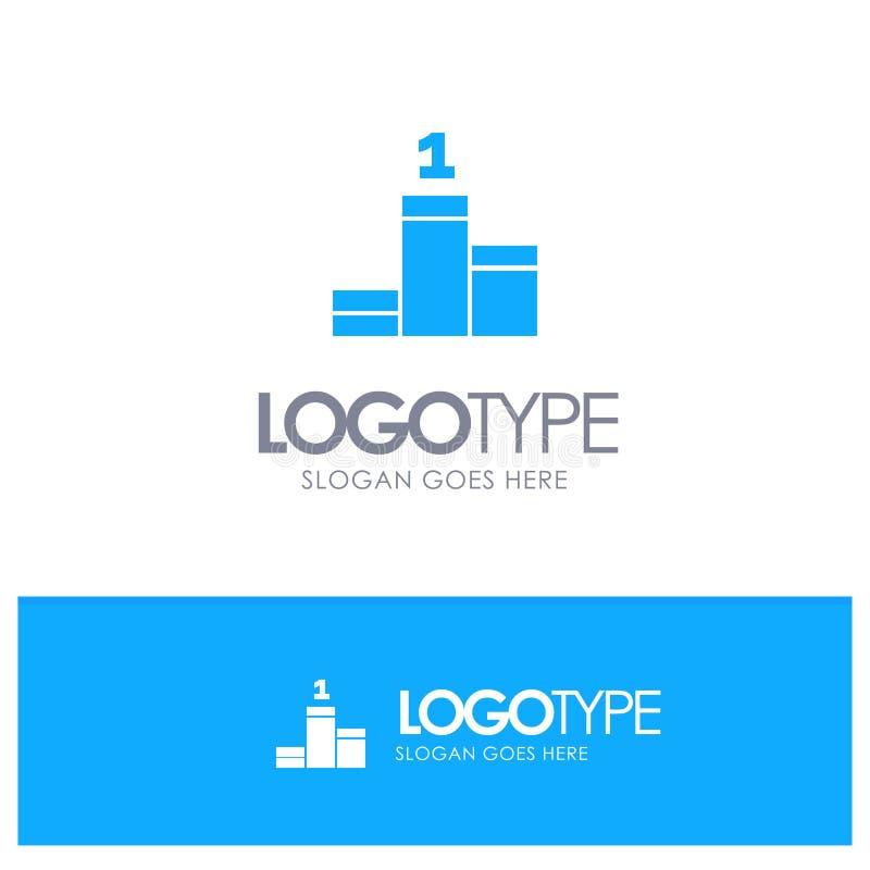 Posición, éxito, logotipo sólido azul del logro con el lugar para el tagline ilustración del vector