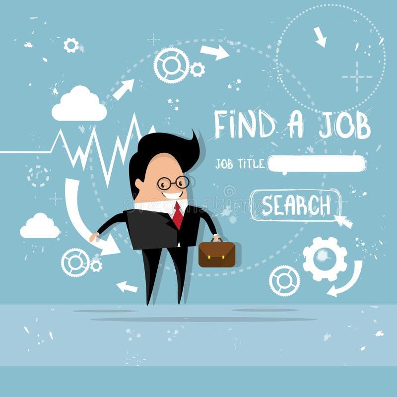 Posición de Job Curriculum Vitae Recruitment Candidate del hallazgo del hombre de negocios, perfil del CV stock de ilustración