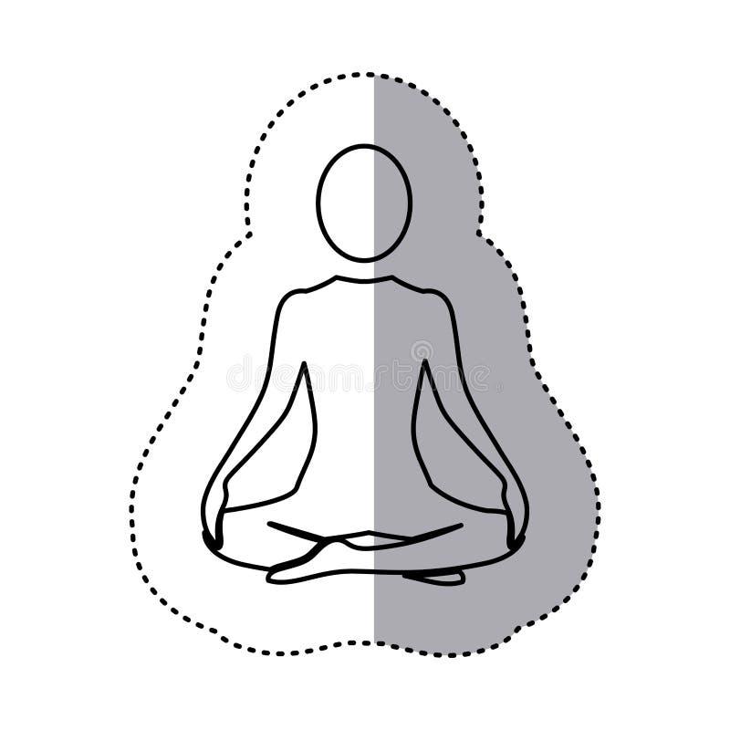 posición de la yoga de la mujer de la silueta de la etiqueta engomada que se sienta stock de ilustración