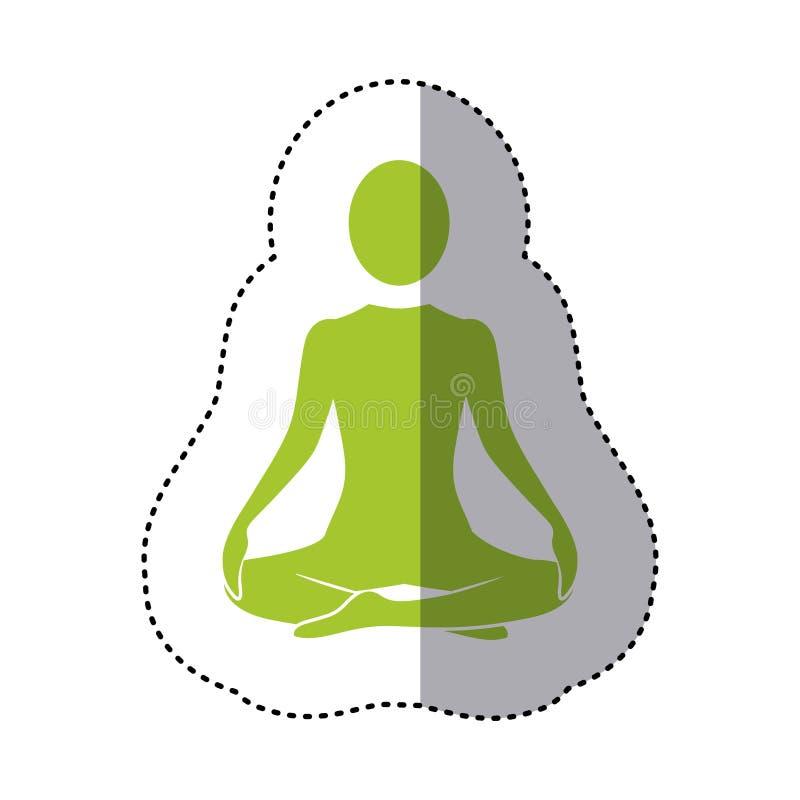posición de la yoga de la mujer verde de la silueta de la etiqueta engomada que se sienta libre illustration