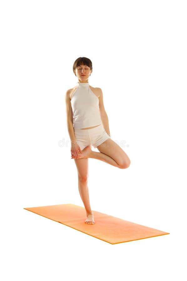 Posición de la yoga de Vrikshasana foto de archivo libre de regalías