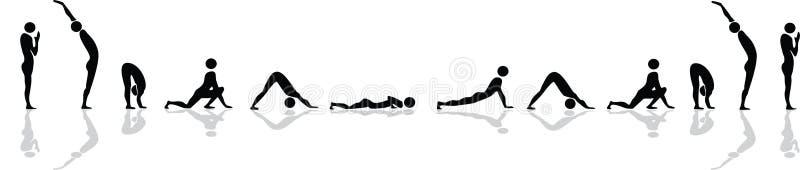 Posición de la yoga para el saludo del sol stock de ilustración