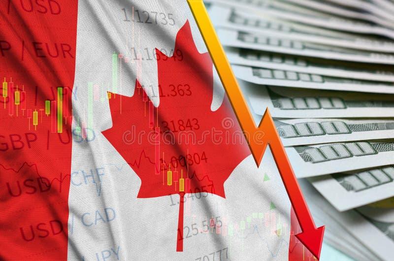 Posición descendente del dólar americano de la bandera y de la carta de Canadá con una fan de billetes de dólar fotos de archivo libres de regalías