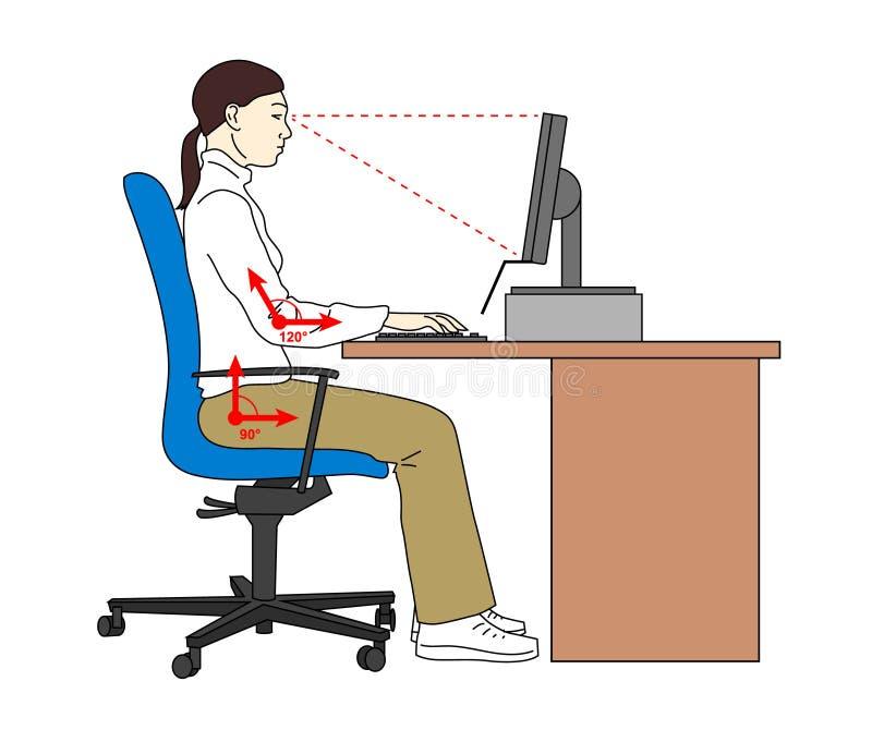 Posición sentada de la posición ergonómica Corrija el asiento al usar un compter Mujer en su lugar de trabajo Ilustración del vec ilustración del vector
