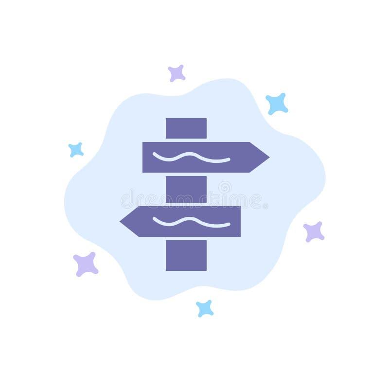 Posicione, a navegação, ícone azul da estrada no fundo abstrato da nuvem ilustração stock