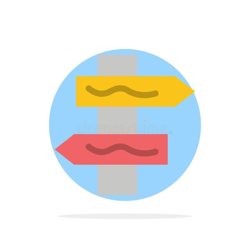 Posicione, navegação, ícone liso da cor do fundo do círculo do sumário da estrada ilustração stock