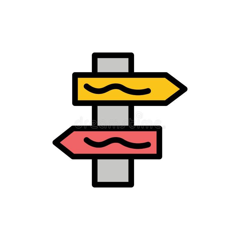Posicione, navegação, ícone liso da cor da estrada Molde da bandeira do ícone do vetor ilustração stock
