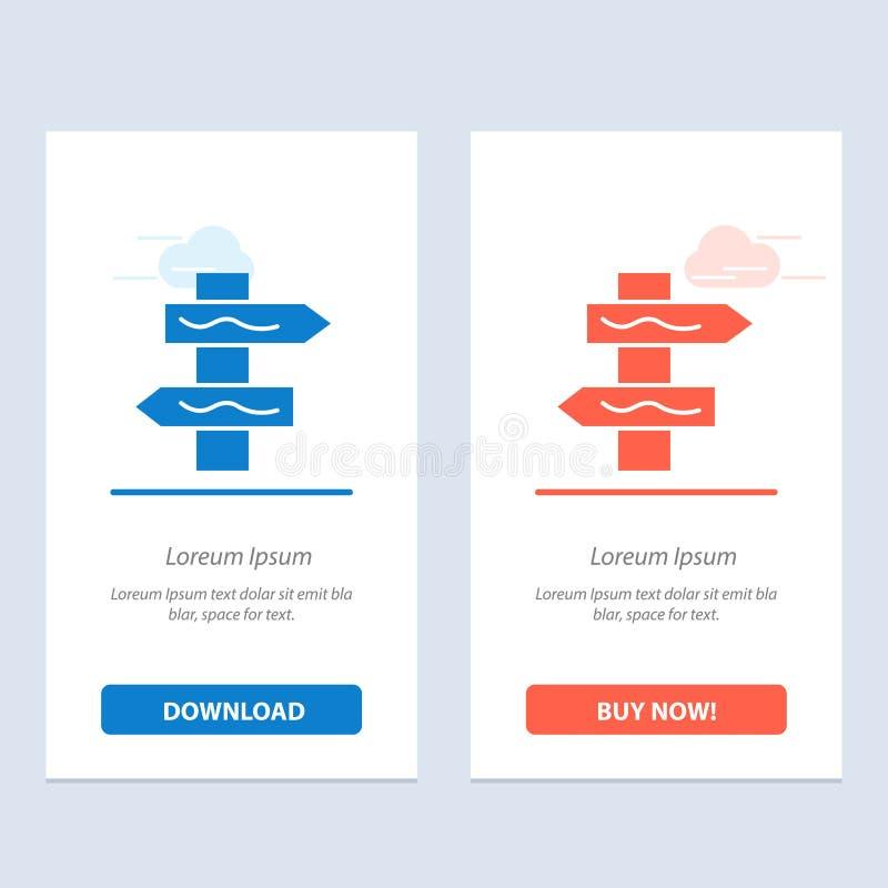 Posicione, navegação, azul da estrada e transferência vermelha e compre agora o molde do cartão do Widget da Web ilustração do vetor