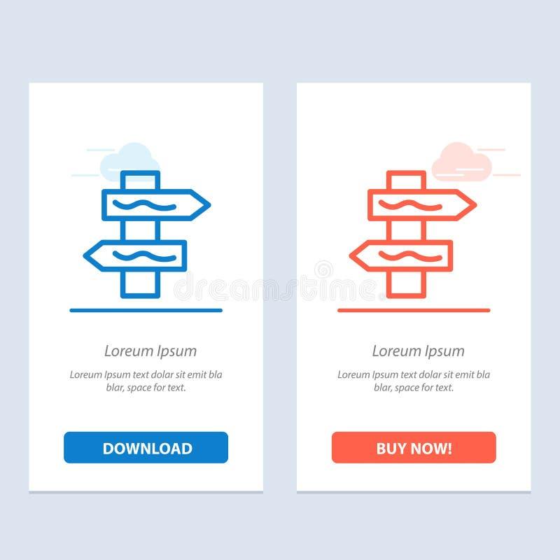 Posicione, navegação, azul da estrada e transferência vermelha e compre agora o molde do cartão do Widget da Web ilustração royalty free