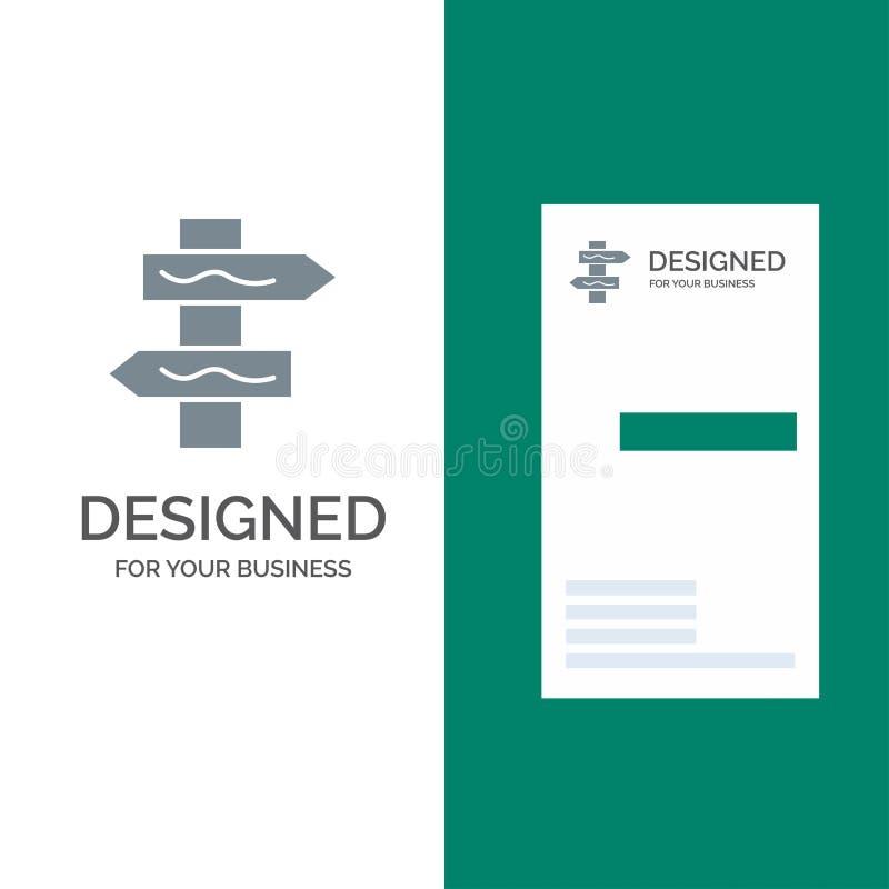 Posicione, navegação, estrada Grey Logo Design e molde do cartão ilustração do vetor