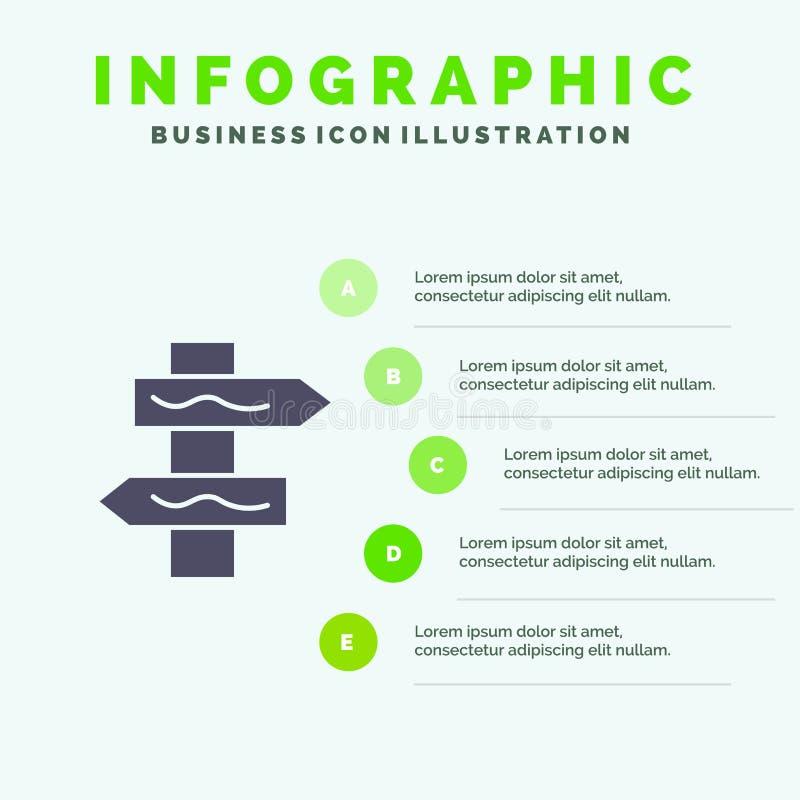 Posicione, navegação, fundo contínuo da apresentação das etapas de Infographics 5 do ícone da estrada ilustração stock
