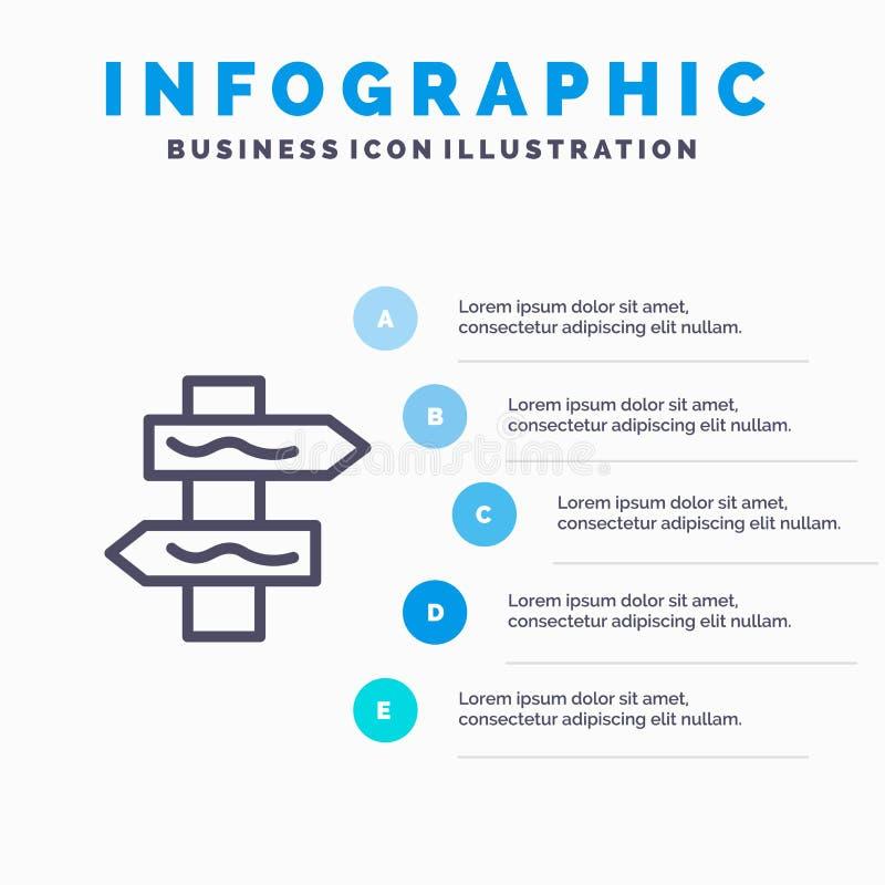 Posicione, a navegação, linha ícone da estrada com fundo do infographics da apresentação de 5 etapas ilustração royalty free