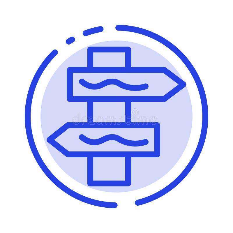 Posicione, navegação, linha pontilhada azul linha ícone da estrada ilustração royalty free