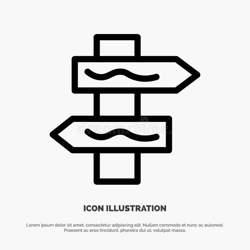 Posicione, navegação, linha vetor da estrada do ícone ilustração do vetor