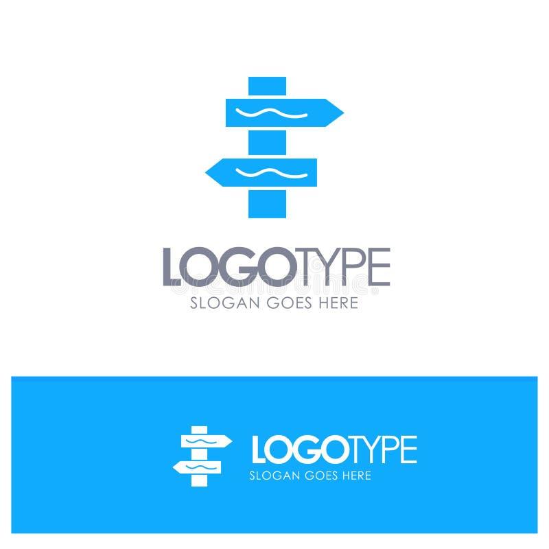 Posicione, a navegação, logotipo contínuo azul da estrada com lugar para o tagline ilustração royalty free