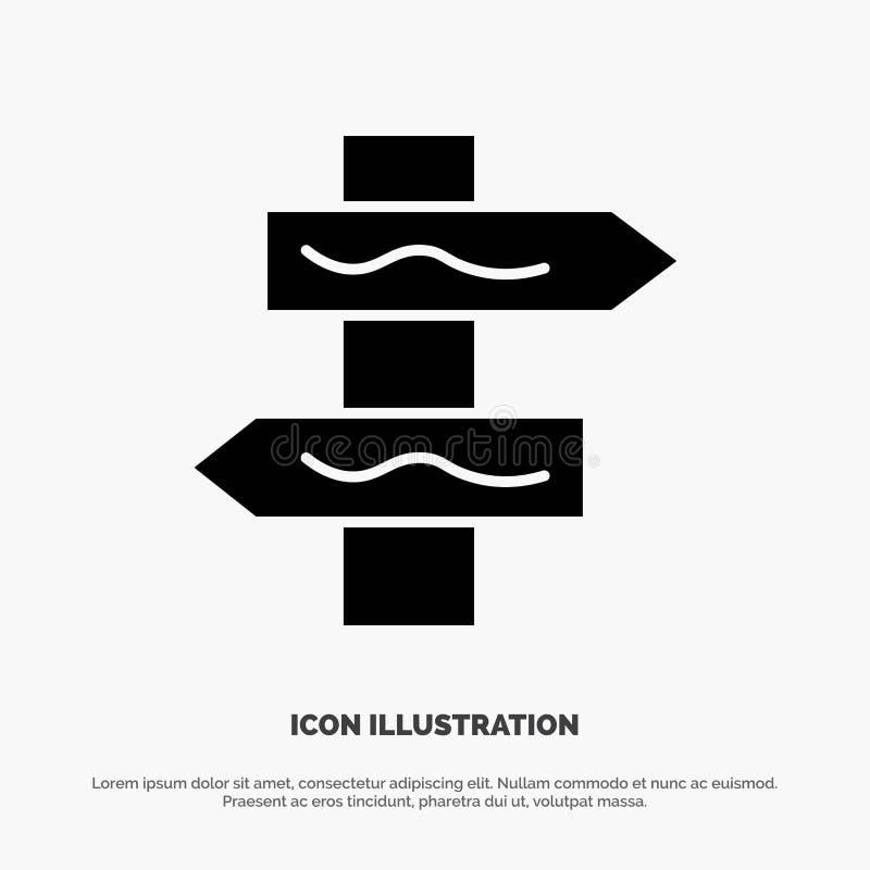 Posicione, navegação, vetor contínuo do ícone do Glyph da estrada ilustração stock