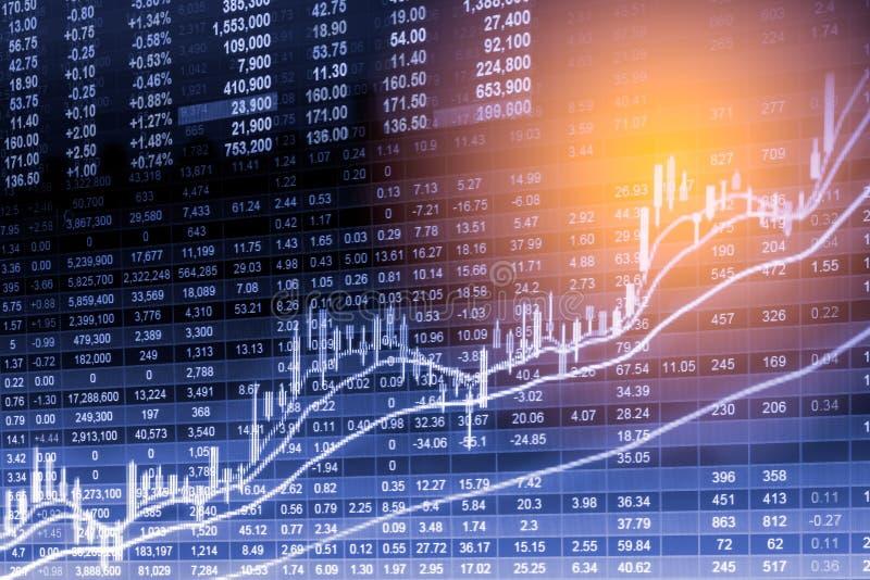 Posicione o gráfico da análise financeira do indicador do mercado de valores de ação no diodo emissor de luz imagem de stock