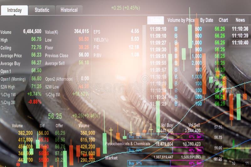 Posicione o gráfico da análise financeira do indicador do mercado de valores de ação no diodo emissor de luz foto de stock