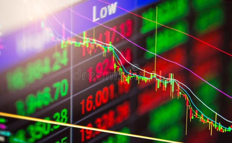 Posicione o gráfico da análise financeira do indicador do mercado de valores de ação no diodo emissor de luz ilustração royalty free