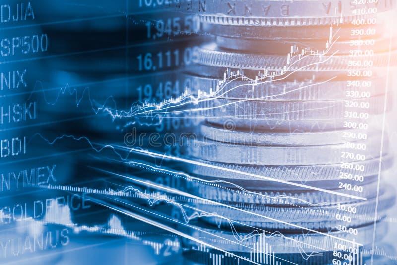 Posicione o gráfico da análise financeira do indicador do mercado de valores de ação no diodo emissor de luz imagem de stock royalty free