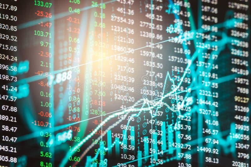 Posicione o gráfico da análise financeira do indicador do mercado de valores de ação no diodo emissor de luz foto de stock royalty free