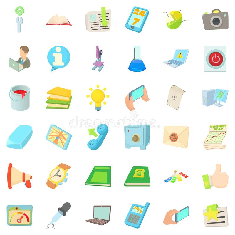Posicione os ícones ajustados, estilo dos desenhos animados ilustração do vetor