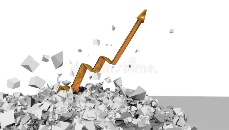 Posicione rupturas douradas o solo em muitas partes isoladas no fundo branco - rendição 3d ilustração stock