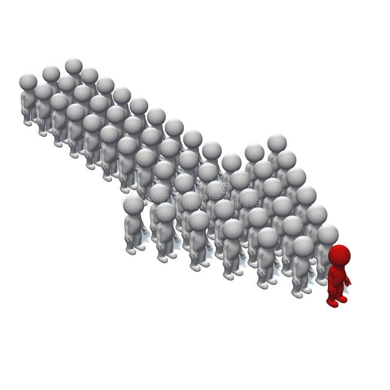 Posicione a seta feita dos povos 3D com um líder na parte superior no fundo branco ilustração do vetor