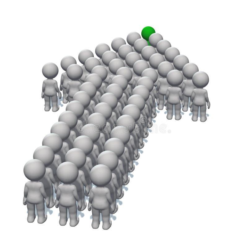 Posicione a seta feita dos povos 3D com um líder na parte superior no fundo branco ilustração stock