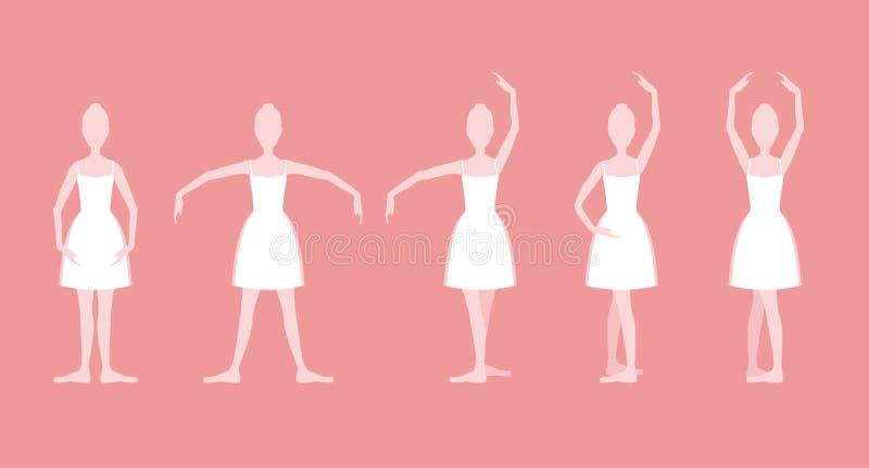Posiciones de ballet básicas de la historieta cinco fijadas Vector stock de ilustración