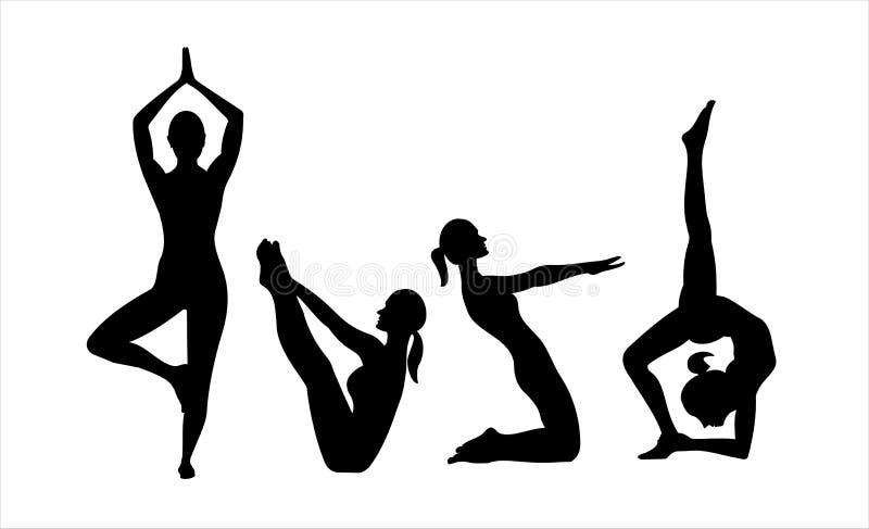 Posiciones de la yoga stock de ilustración
