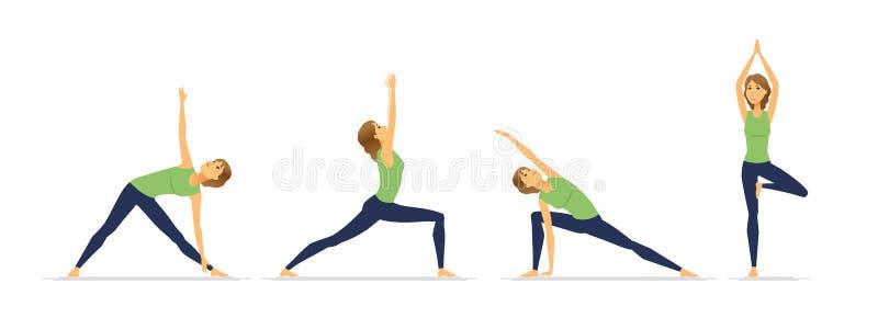 Posiciones de la yoga - juego de caracteres moderno de la historieta del vector ilustración del vector