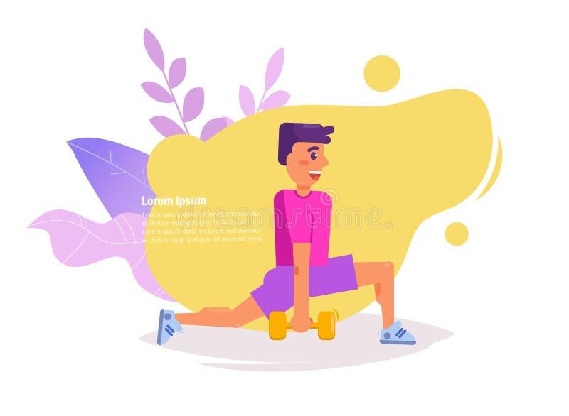 Posiciones en cuclillas del hombre con vector de las pesas de gimnasia historieta Arte aislado en el fondo blanco plano ilustración del vector