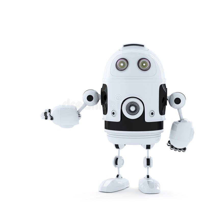 Posing Android Robot. Rendered over white vector illustration