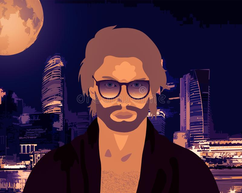 Posing in the city. Young man in the city during the night posing with style vector illustration