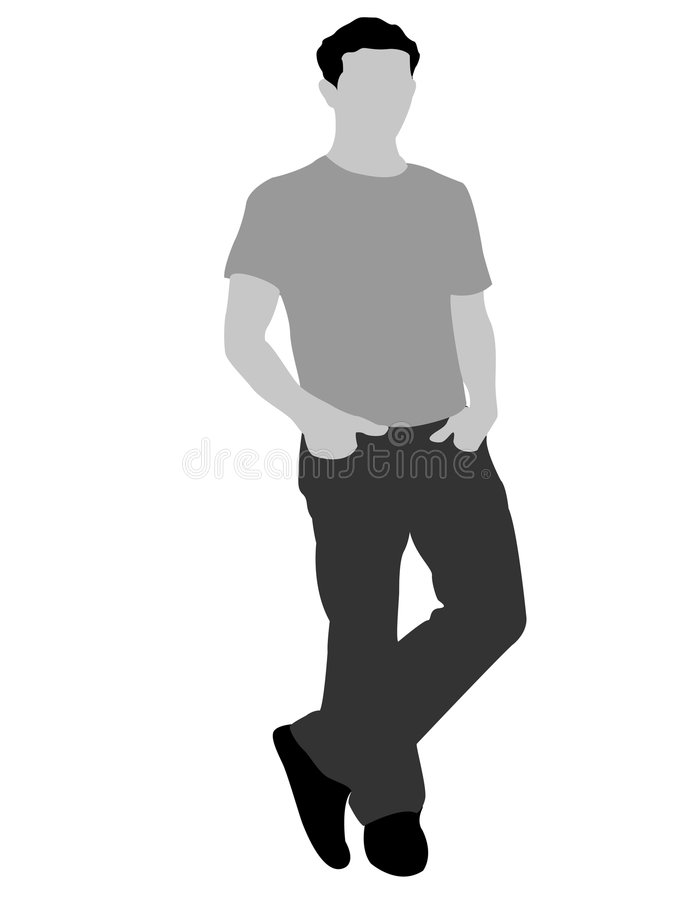 Posing cool man. On isolated background stock illustration
