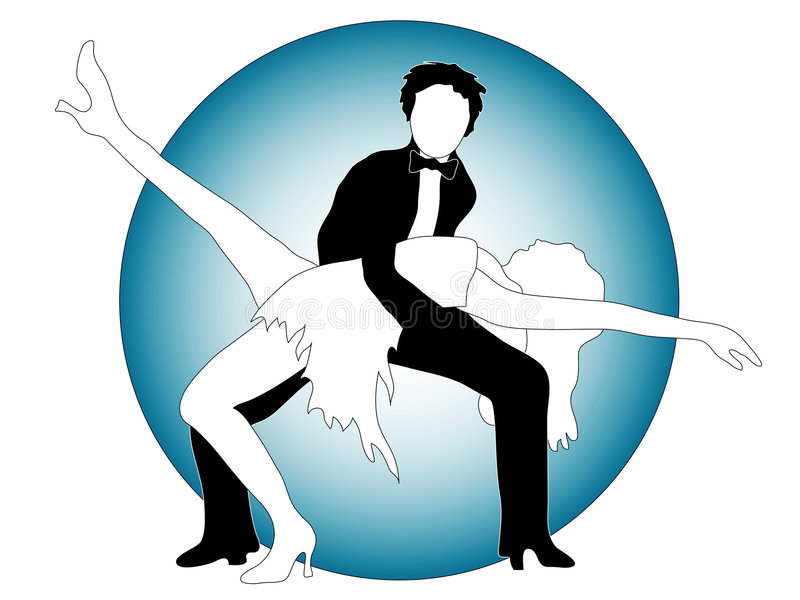 Posing dancers. An illustrated view of a couple in a dancing pose stock illustration