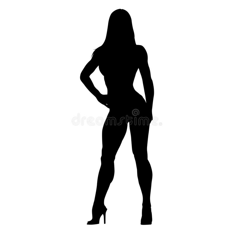 Posing fitness woman. Bodybuilder girl standing. On high heels. Vector silhouette royalty free illustration
