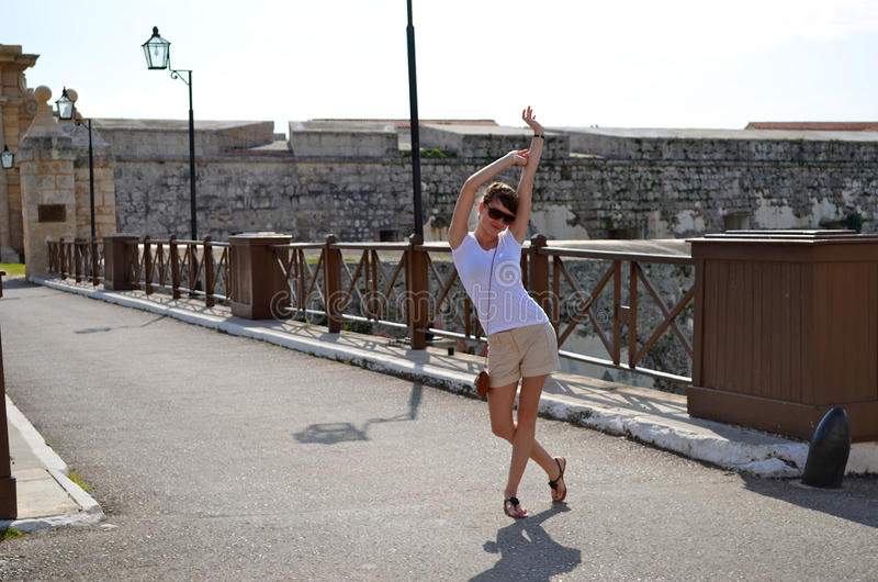 Download She Is Posing At A Fortress Stock Photo - Image: 23155092