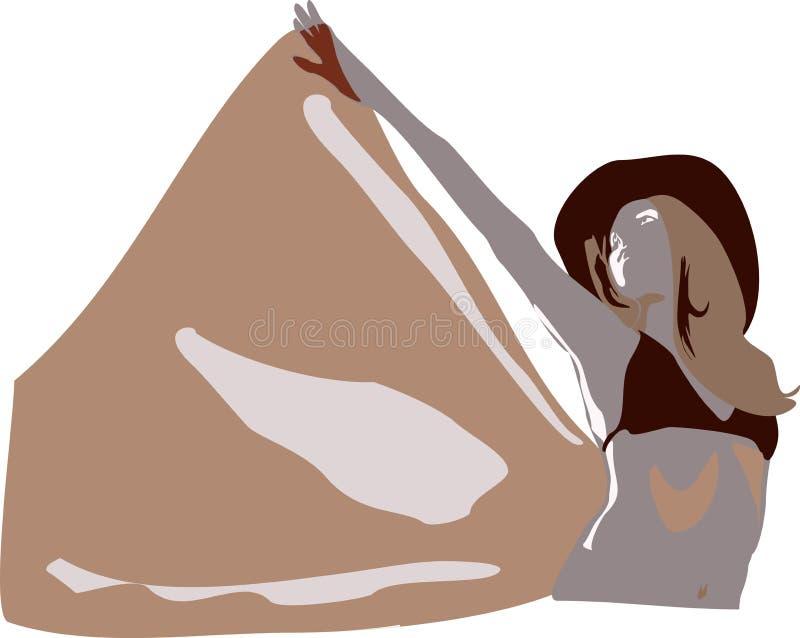 Posing girl. In sepia colors vector illustration