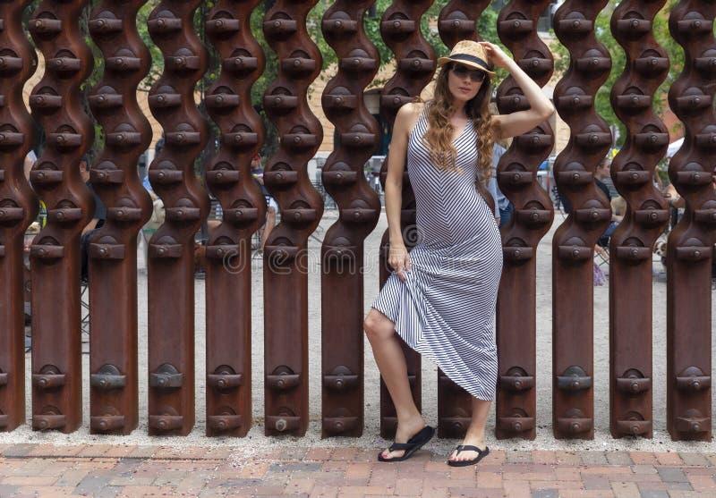 Posing Outdoors modelo moreno bonito foto de stock royalty free