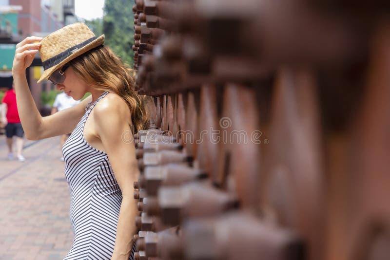 Posing Outdoors modelo moreno bonito fotografia de stock royalty free