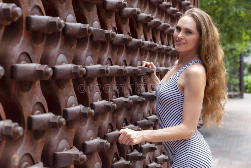 Posing Outdoors modelo moreno bonito imagem de stock